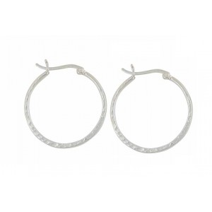 Hammered Style Silver Hoop Earrings - 30mm