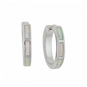 18mm Opal Silver Hoop Earrings | The Opal