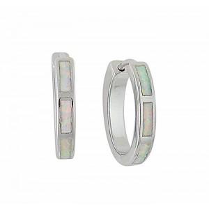 18mm Opal Silver Hoop Earrings   The Opal