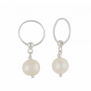 Single Pearl Small Silver Hoops Earring