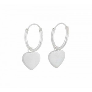 Heart Charm Silver Hoop Earrings