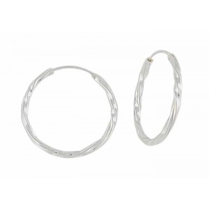 Twist Design Large Silver Hoop Earrings - 45mm