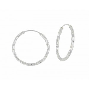 Twist Design Silver Hoop Earrings - 18mm