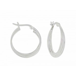 Silver Strand Design Hoop Earrings - 25mm | The Opal Jewellery