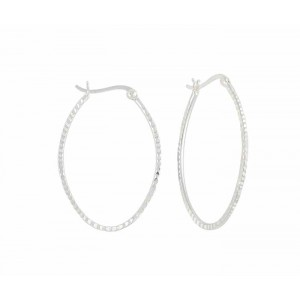 Silver Large Oval Hoop Earrings - 44mm