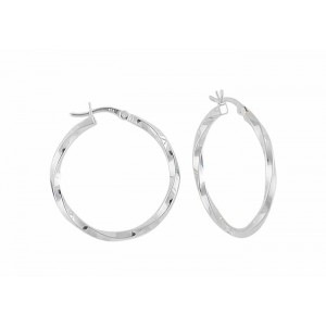 Twisted Design Silver Hoop Earrings - 32mm
