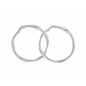Round Twist Silver Hoop Earrings - 45mm