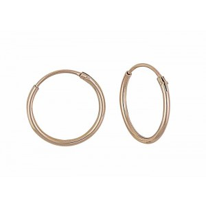 Rose Gold Plated Plain Silver Hoops -18mm