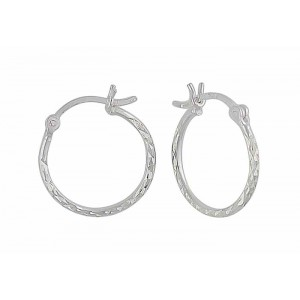 Diamond Cut Small Hoop Earrings - 15mm
