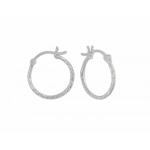 Diamond Cut Small Hoop Earrings - 12mm