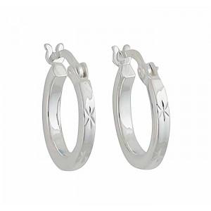 Star Pattern Silver Small Hoop Earrings 14mm