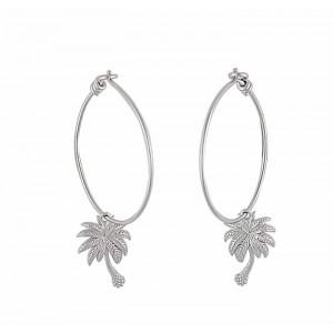 Palm Tree Silver Hoop Earrings