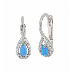 Teardrop Blue Opal and Cubic Zirconia Earrings