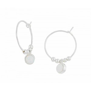 Circular White Opal Silver Hoop Earrings