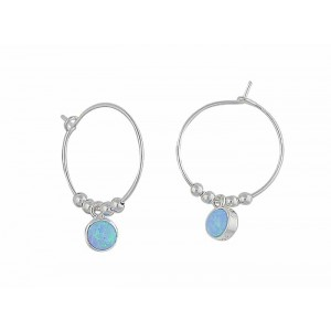 Circular Blue Opal Silver Hoop Earrings