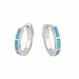 18mm Blue Lab Opal Silver Hoop Earrings