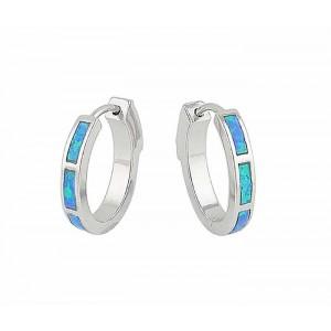 18mm Blue Lab Opal Silver Hoop Earrings