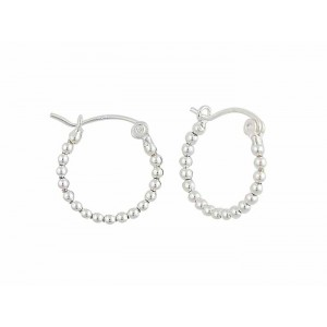 Silver Ball Small Hoop Earrings - 18mm