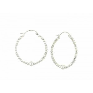 Silver Ball Large Hoop Earrings - 40mm
