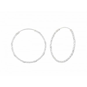 Twist Design Large Sterling Silver Hoop Earrings - 45mm