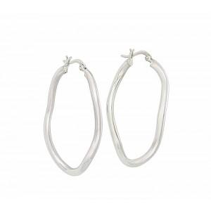 Wave Design Silver Hoop Earrings
