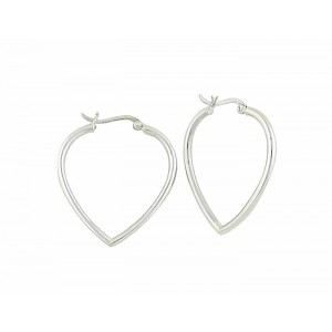 Heart Silver Hoop Earrings