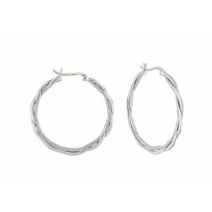 Open Wave Large Silver Hoop Earrings