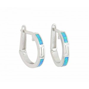 18mm Blue Opal Silver Hoop Earrings