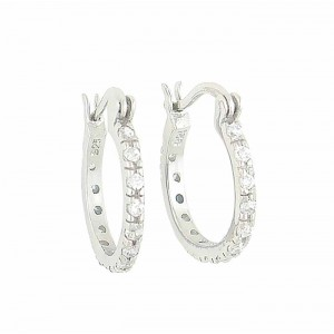 Silver Cubic Zirconia 16mm Creole Hoop Earrings