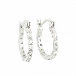 Silver Cubic Zirconia 16mm Creole Hoop Earrings