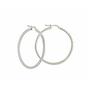 Silver Large Creole Hoop Earrings 50mm