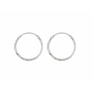 Diamond Cut Small Sleeper Hoop Earrings - 15mm