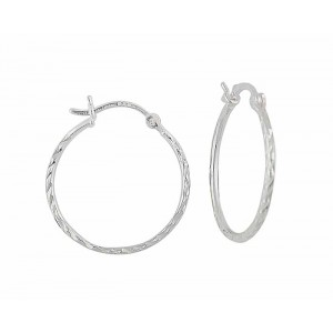Diamond Cut Silver Creole Hoop Earrings - 20mm
