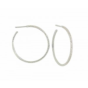 Diamond Cut Silver Stud Hoop - 35mm