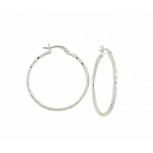 Sterling Silver Hammered Hoop Earrings - 35mm