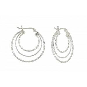 Plain and Textured Triple Circle Silver Hoop Earrings