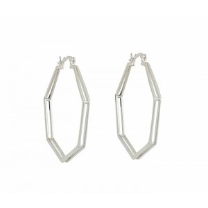 Heptagon Silver Hoop Earrings