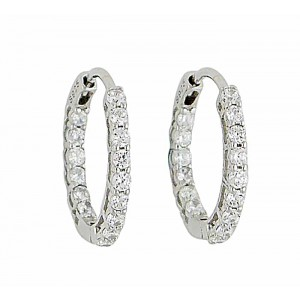 20mm Cubic Zirconia Silver Hoops
