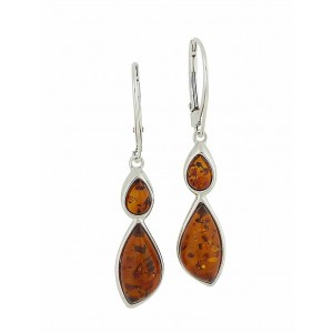 Graduated Teardrop Cognac Amber Hoop Earrings