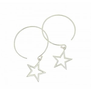 Open Star Charm Large Hoop Earrings