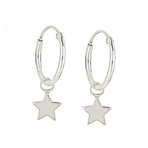 Star Charm Small Silver Hoop Earrings