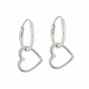 Heart Charm Small Silver Hoop Earrings