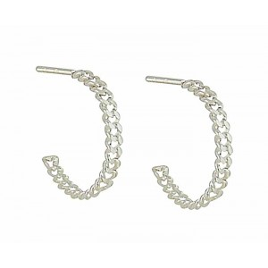 Curb Link Half Hoop Earrings