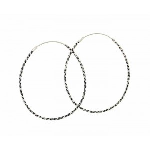 Oval Twist Extra Large Silver Hoop Earrings