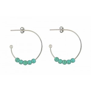 Turquoise Beaded Half Hoop Earrings