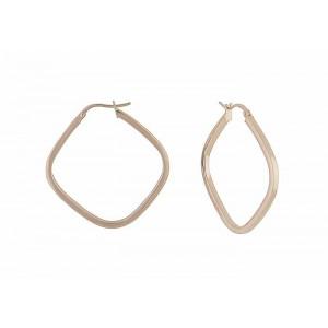 Smooth Diamond Rose Gold Hoop Earrings
