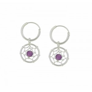 Amethyst Web Hoop Drop Earrings