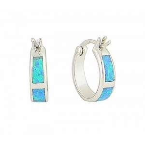 Blue Opal Sectional Hoop Earrings