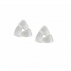Triangle Design Silver Stud Earrings