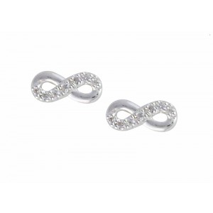 Cubic Zirconia Set Infinity Stud Earrings